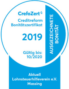 CrefoZert 2019 Bonitätszertifikat Aktuell Lohnsteuerhilfeverein e.V.