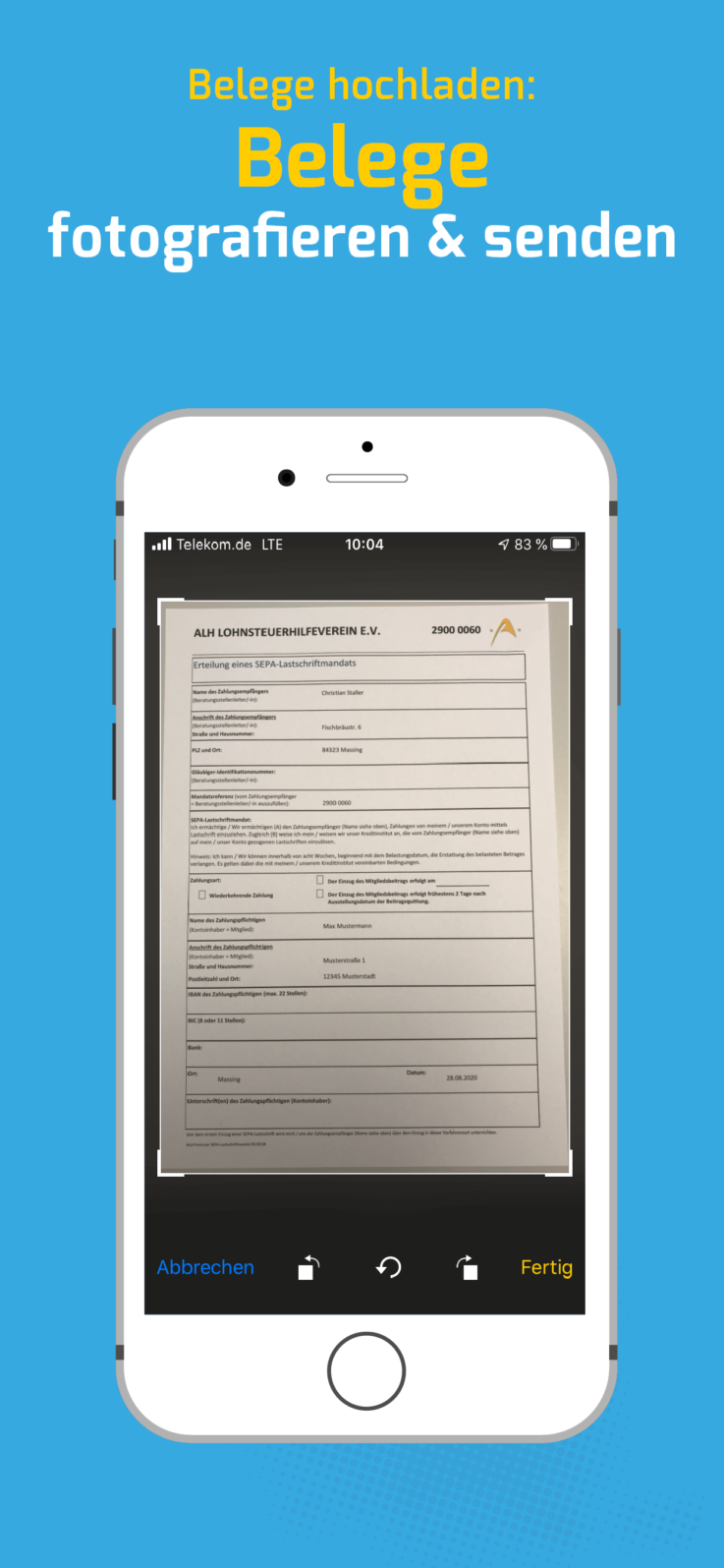 ALH Postbox App Belege hochladen Belege fotografieren & senden